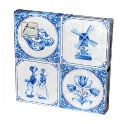 Servetten met Delfts blauwe tegels 20-pak