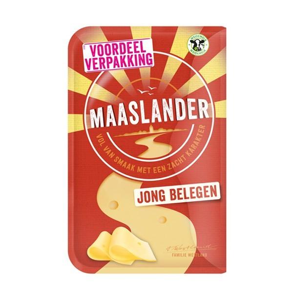 Maaslander kaas Jong Belegen 50+ plakken XL 350 gram