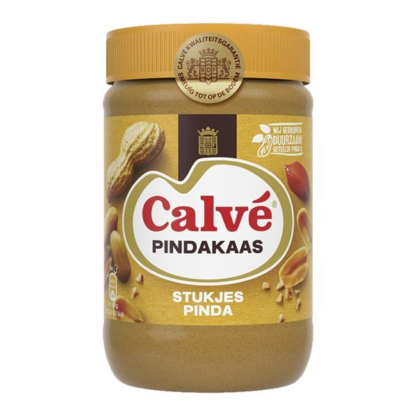 Calvé Pindakaas met stukjes pinda large 650 Gram