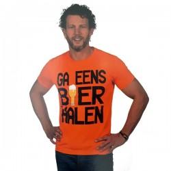 Oranje T-shirt Ga eens bier halen maat M
