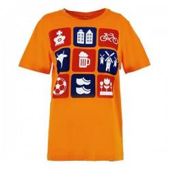 Oranje T-shirt met gekleurde tegels maat XL