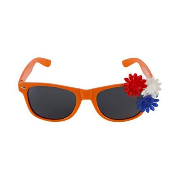 Oranje Zonnebril met bloemetjes