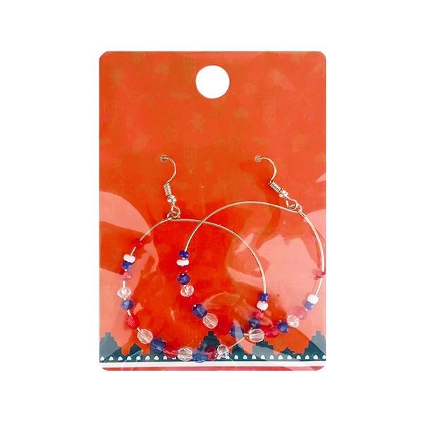 Rood-wit-blauwe oorbellen