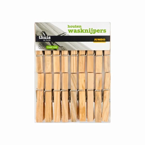 Houten wasknijpers 36 stuks