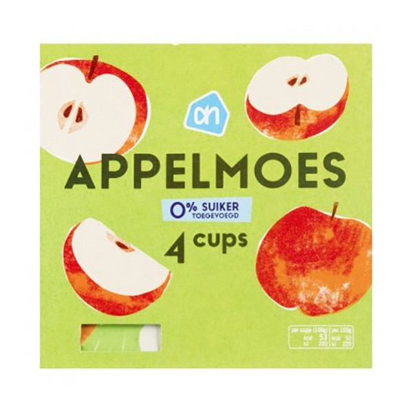Huismerk Appelmoes cups 0% suiker 4-pak