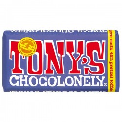 Tony's Chocolonely donkere melk pretzel toffee chocolade reep 180 gram