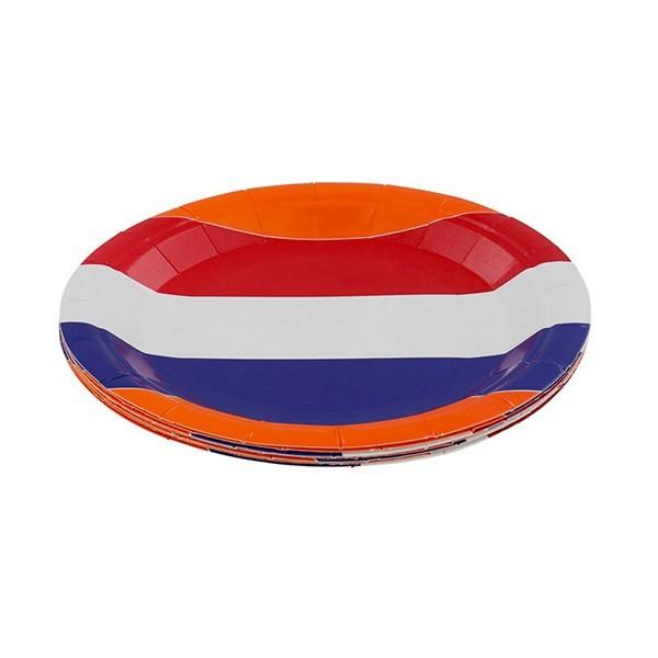 Oranje papieren bordjes met vlag 8-pak