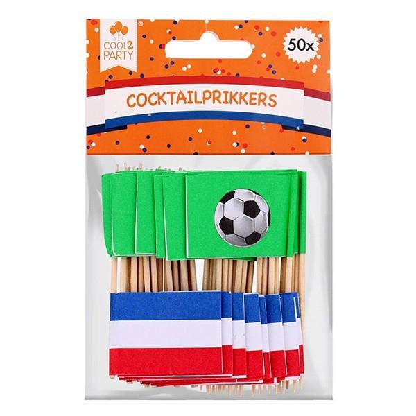 Vlaggenprikkers Vlag & voetbal 50 stuks