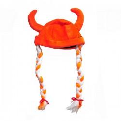 Oranje vikingmuts met vlechten
